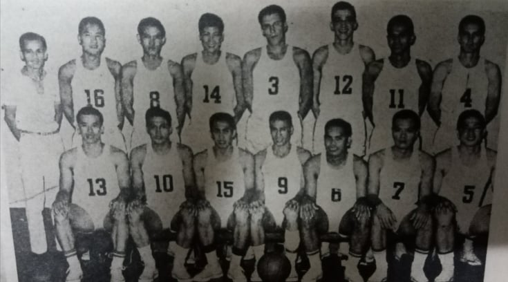 The Philippine team that placed eighth during the 1959 edition of the World Basketball Championship in Santiago, Chile. [Henry Liao photo]