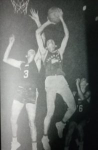 Captain Caloy Loyzaga(3) and RP teammate Ed Ocampo (16) gang up on an Indonesian player during the 1962 Asian Games in Jakarta. [Henry Liao photo]