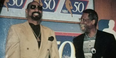 But off the hardwood, the two were close friends, often inviting each other for Thanksgiving dinners. Here, the two get together during the NBA's 50th anniversary celebrations in October 1996.