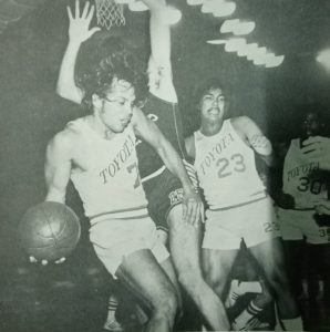 Jaworski, here going air-borne to squeeze a pass to teammate Oscar Rocha, helped lead Toyota, then monikered Comets, to a pair of titles in the first three-conference season of the PBA in 1975.
