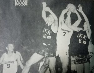 Representing the Philippines, the Big J beats a pair of Japanese foes to a rebound during the ABC 10th anniversary tournament held in Manila in 1970.