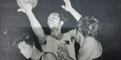 Robert Jaworski, here squeezing past Philip Cezar and Fortunato Co in an exhibition game between the RP team and Crispa, represented the country on seven occasions.