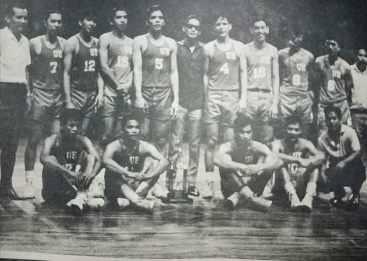 Bobby Jaworski (No. 5) helped lead the UE Red Warriors to the 1966 UAAP crown, beating UST, led by Danilo Florencio, in the finals.
