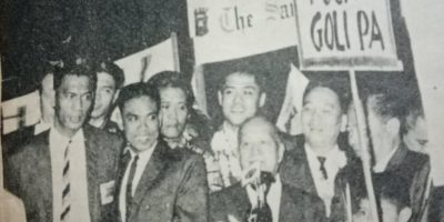 The triumphant 1967 Philippine team, with Tembong Melencio, Ciso Bernardo and Ed Roque among them, gets a warm welcome from Antonio de las Alas and former Olympian Ambrosio Padilla, then president and vice president of the PAAF (the harbinger of the POC), following their return from Seoul, Korea.