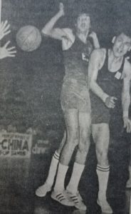 Fernandez dishes off a pass to a teammate during an PH-China tussle in the 1974 Tehan Asian Games. The Filipinos beat the Chinese in a quarterfinal game but fell to fourth place overall after being shellacked by eventual titlist Israel for a second time during the knockout semifinals and losing to China in a rematch in the bronze-medal game.