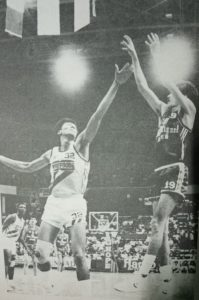 San Miguel Beer's Mon Fernandez pops a jumper off Purefoods' Abet Guidaben during a game in the 1988 PBA Reinforced Third) Conference. The two arch nemesis from the old Crispa-Toyota rivalry of the 1970s and early 1980s were traded for each other twice during their respective pro careers.