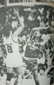 Fernandez, here essaying the defense of Al Solis, collected an all-time PBA-high 19 conference titles, including seven with the San Miguel Beer franchise.