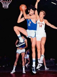 Kresimir Cosic (No. 11) played collegiate ball at Brigham Young University.