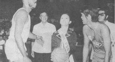 On April 9, 1975, the first game ever in PBA history was held at the Araneta Coliseum. Here, Noritake's Israel Oliver and Concepcion Carrier's Ramon Lucindo await the ceremonial opening toss as PBA commissioner Leo Prieto and PBA president Emerson Coseteng look on.