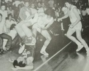 Crispa's tough hombre Rudy Soriano was the recipient of kicks and blows from brothers Big Boy and Tino Reynoso in the decisive Game Five of the finals of the 1975 PBA Third Conference that was dubbed the All-Philippine Championships.