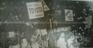 The diehard Comet fans jubilate as Toyota claimed two of three titles against arch nemesis Crispa during the 1975 PBA campaign.