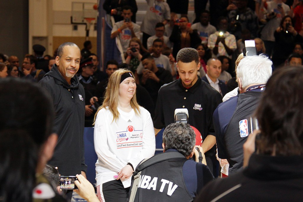 The Curry's - Dell Curry and Stephen Curry at NBA All-Star Weekend Center Court 2016 [photo credit: lam_chihang | WIkimedia Commons]